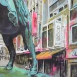 Statue in Innenstadt 100x120 Acryl und Lack 2013 (2)h