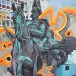 Wilhelm I hinter Graffiti 180x130 Acryl und Lack 2013 (2)h