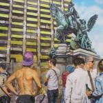 Wilhelm hinter Menschenmenge 120x100 Acryl und Lack 2014 (2)h