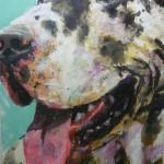 Dogge Berta 95x70 Acryl und Lack 2014 (2)h