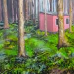 rosa Hütte hinter Bäumen 80x80 Acryl Öl und Lack (2)h